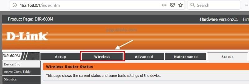 Dlink Router Wireless Menu