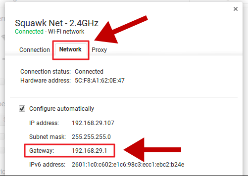 Find router IP on ChromeOS