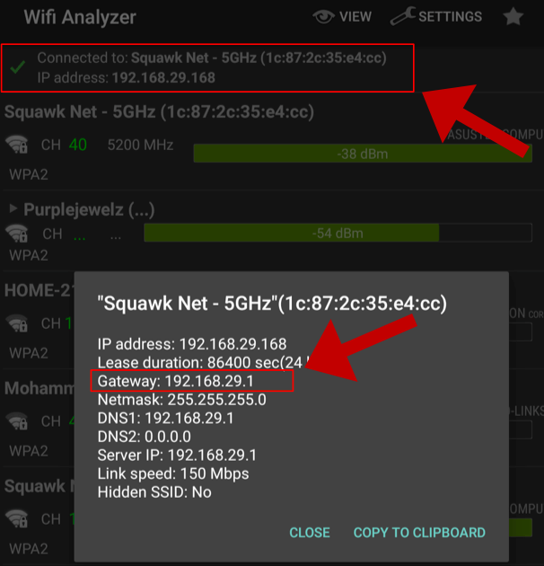Find the router IP in the network settings on your Wi-Fi Analyzer Android